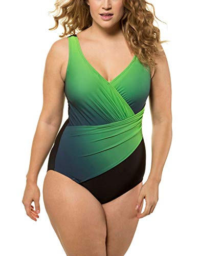 Ulla Popken Badeanzug Farbverlauf, Große Größen Traje de baño de una Sola Pieza, Verde (Negro/Verde 72057941), 62 para Mujer
