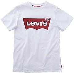 Levi's Camiseta Gráfica para Niños Mangas Batwing Blanca, 16 Años