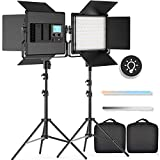 FOSITAN 2 Packs Bi-Color LED Video Light LCD Display Barndoor Kit 3960 Lux CRI 96+ SMD LED Light ( 5 Times as Bright as Ordinary LED) with U Bracket, 79' Light Stand for Studio Photography Shooting