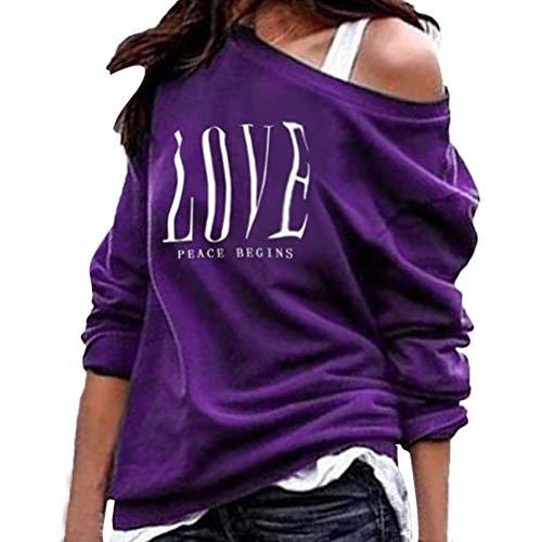 Bluelucon herfst winter dames pullover casual losse brief print schoudervrij sweatshirt blouse lange mouwen bovenstuk tuniek tops