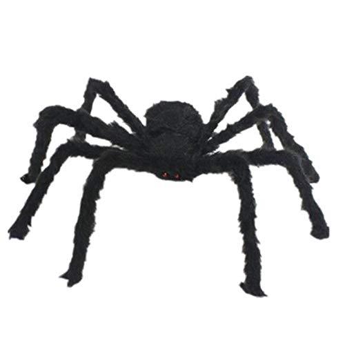 JUNSHUO 1,5 Meter Lange Pluche Zwarte Spin, Spinnen Insecten Knuffels - Speelgoed voor Halloween / Spookhuis Enge Decoratie