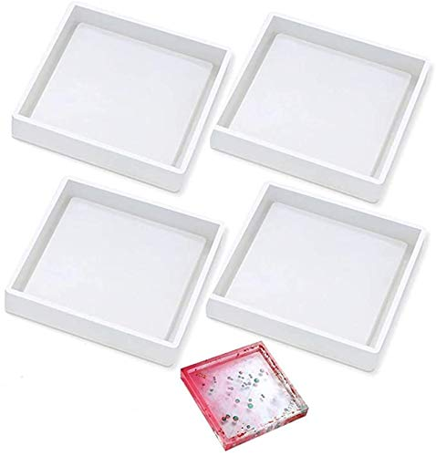 4-Piece DIY Silicone Coaster Mold, Square epoxy Resin Casting Mold, Used for Resin, Concrete, Cement, Home Decoration