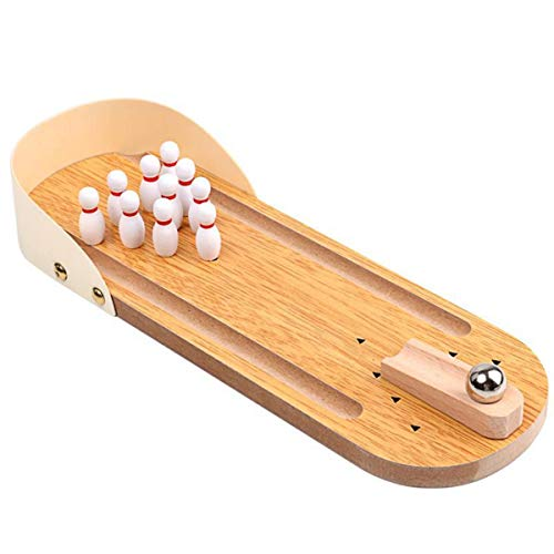 Find Bargain Halloluck Mini Bowling Game Mini Wooden Desktop Bowling Game Mini Tabletop Bowling for ...