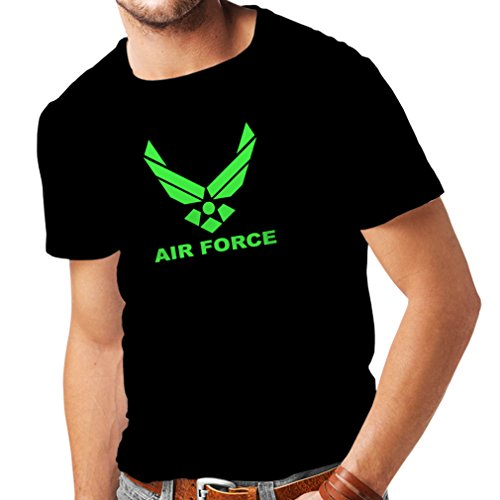 lepni.me Camisetas Hombre United States Air Force (USAF) - U. S. Army, USA Armed Forces (Small Negro Verde)
