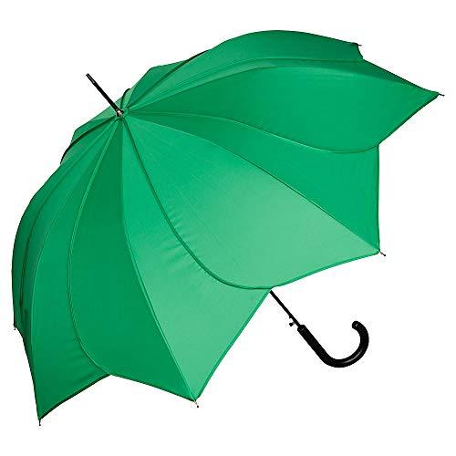 VON LILIENFELD Regenschirm Sonnenschirm Hochzeitsschirm Auf-Automatik Blütenform Minou grün mit grünen Ziernähten