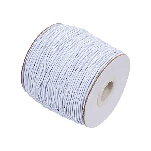 PH PandaHall 109Yards Elastic Cord, 1.2mm White Round Beading Bracelet Threads for Hair Ties Home Uses and DIY Jewlery Making