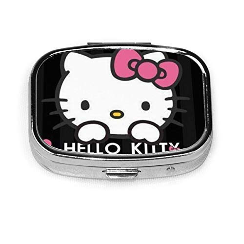 Square Pill Box- Portable Hello Kitty Medicine Organizer Holder Two Compartment Pill Case