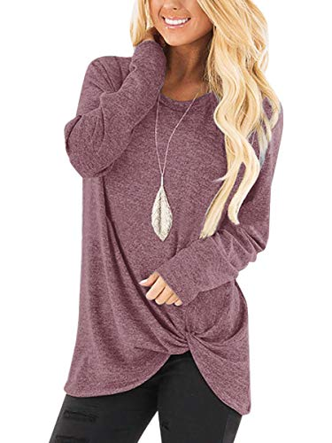 Yidarton Women's Comfy Casual Long Sleeve Side Twist Knotted Tops Blouse Tunic T Shirts(rd,s) Red