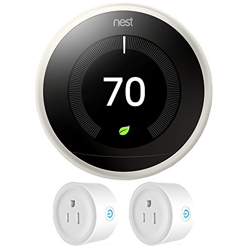 Nest (T3017US) Learning Thermostat 3rd Gen, White with Deco Gear 2 Pack WiFi Smart Plug