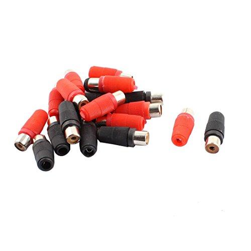 DyniLao Conector de clavija de fono RCA hembra con mango de plástico, 10 pares, rojo, negro (paquete de 20)