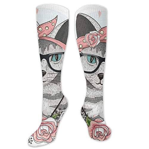 Unisex High Length Tube Sokken van hoge elastic, schattige hipster kat met glazen scharen en bloemen compressie Socks Boost Stamin grootte 8,5 x 50 cm