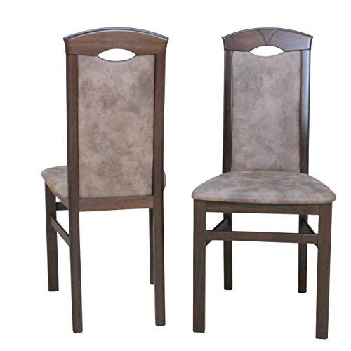 moebel direkt online Stühle (2 Stück) Bodo Gestell nussbaum, Stoff Camel