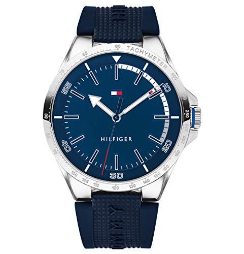 Tommy Hilfiger Herren Analog Quarz Uhr mit Silikon Armband 1791542