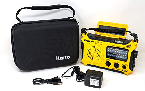 Kaito KA500 Voyager Solar/Crank Emergency AM/FM/SW/NOAA Weather Alert Radio with AC Adapter & Storage Case, Yellow