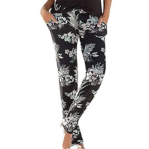 Pantalones Harem con Estampado de Verano Bohemio de Cintura Alta para Mujer, Pantalones Casuales de Cintura Alta, Pantalones de Yoga de Pilates para Baile Hippie de Playa