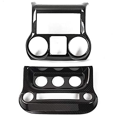 RT-TCZ Car Interior Center Console Dashboard Panel & Air Conditioning Switch Panel Frame Cover Trims for Jeep Wrangler 2011-2017 (Carbon Fiber)
