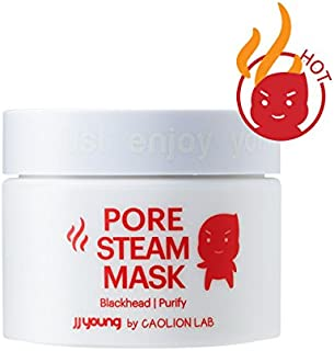 JJ YOUNG Pore Steam Mask - Cleanses Pores, Removes Dead Skin Cells With Charcoal and Volcanic Ash, and Calms Troubled Skin - 1.76 oz.