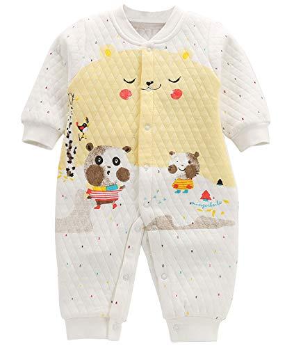 Grenouillère avec Jambes Bébés Filles Garçons Pyjama Sac de Couchage Respirant Coton sans Capuche Turbulette Printemps Jacquard 3-6 Mois Jaune Ours