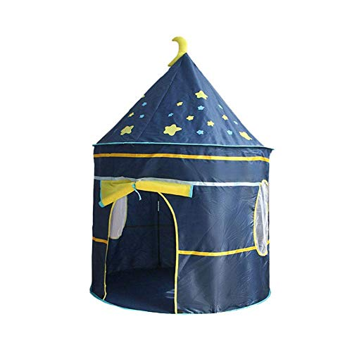 """Childrens Teepee Play Tent With Floor Mat, Easy Installation Yurt Style Moon Stars Pattern Kids Castle Play Tent For Indoor And Outdoor Games, 41""""x 41""""x 53"""" (Starry sky)"""