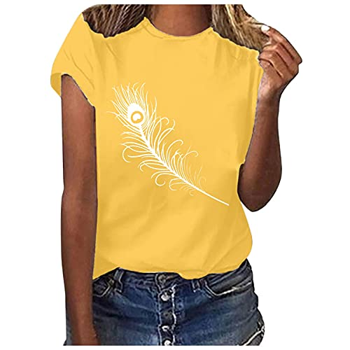 Bilbull Blusa suelta para mujer de manga corta con cuello redondo, para verano, túnica para adolescentes y chicas amarillo L