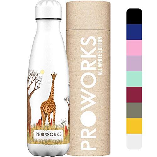PROWORKS Bottiglia Acqua in Acciaio Inox, Senza BPA Vuoto Isolato Borraccia Termica in Metallo per Bevande Calde per 12 Ore & Fredde 24 Ore, Borraccia per Sport e Palestra - 500ml - Giraffa