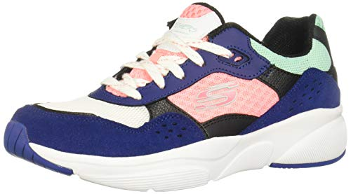 Skechers Meridian-charted, Zapatillas para Mujer, Azul (Navy & Black Leather/White, Pink & Turquoise Mesh/Trim Nvmt), 38.5 EU