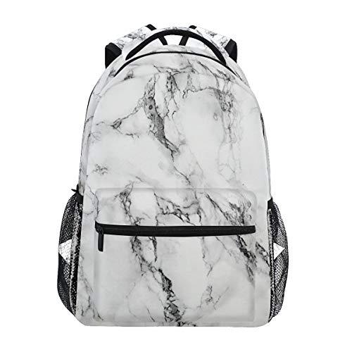 Marble Backpacks for School White Marble Stone Bookbags for Girls Women Kids Teen Toddler Fashion Daypack Rucksack Travel Laptop Bag