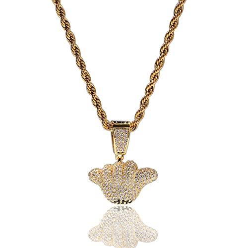 Fantex 14K Hip Hop Iced Out Collar con gesto suelto, colgante de diamante CZ brillante completo con cadena de cuerda para hombres y mujeres (Gold,24''Rope)