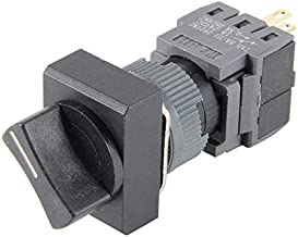 Bookh 16mm Panel Cutout Dia Latching Rotary Selector Switch AC 250V 0.5A DPDT ON-Off-ON 3 Position 1/0/2 Rect Head