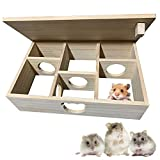 TIANTIAN Hamster Maze Multi-Chamber Tunnel Toy, Wooden House Hideout with Cover Small Pets Activity Sport Playground Toys House Habitats Decor for Dwarf Hamster Gerbils Mice Syrian,9.6 * 9.5 * 3.6in