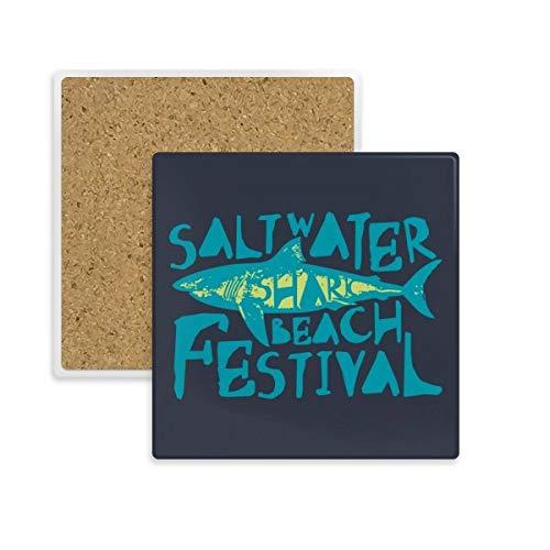 DIYthinker Zoutwater Shark Beach Festival Vierkante Coaster Cup Mok Houder Absorberende Steen voor Drinks 2 stks Gift