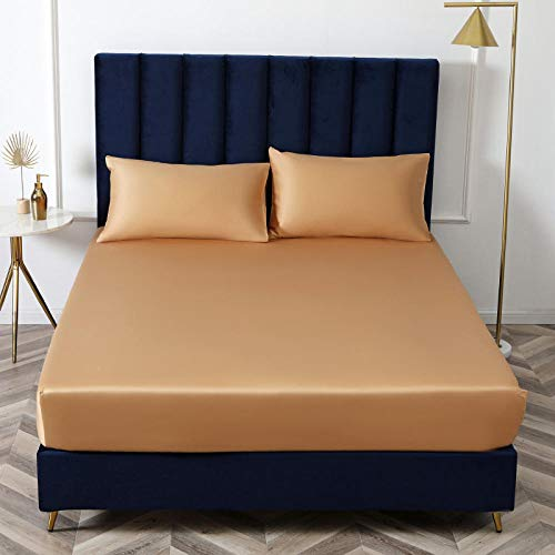 N / A Deep Bedsheets,King size bed sheet single cotton silk satin sheet bed cover non-slip mattress protector for double king-yellow_180cmx200cm*40cm