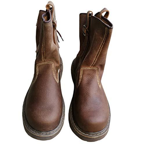 Botas de trabajo vintage para hombres y mujeres, de piel auténtica, botas de combate de piel de vaca, impermeables, resistentes al desgaste, zapatos de granja, color marrón, 40