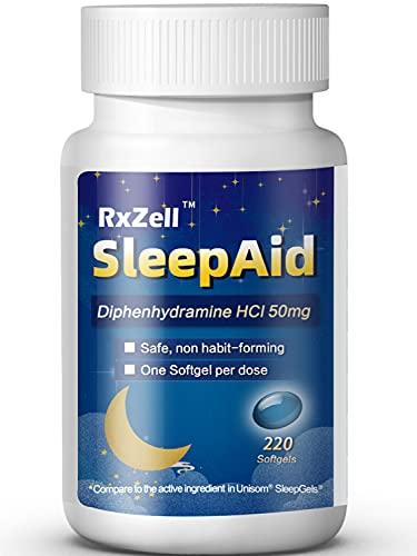 RxZell Sleep Aid, Diphenhydramine HCl 50mg, 220 Maximum Strength Softgels - Fall Asleep Faster, Deeper Restful Sleeping, Non Habit-Forming