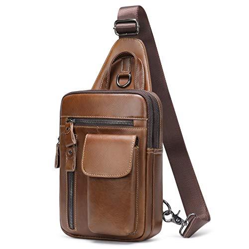 Zaino Monospalla Pelle Sling Bag Borsa a Spalla Uomo Borsello Tracolla Pacco Petto Vintage per Sportivo Fitness Studente (Caffè)