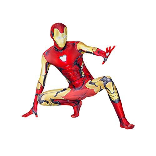 Avengers Iron Man Costumes Adulti Bambini Cosplay Supereroe 3D Fancy Dress Suit Vestito Tuta Tuta per Il Carnevale di Halloween,Iron Man-170~180cm