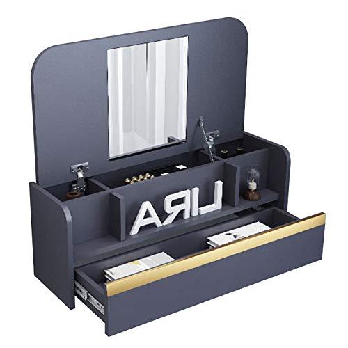 Mesa ordenador Pequeña para Espacios Pequeños Mesa de Pared de Escritorio Plegable con Compartimentos de Almacenamiento y Cajones Mesa de Computadora o Tocador(Size:836×390×296mm,Color:gris oscuro)