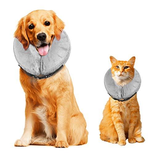 Cuello protector hinchable para perros y gatos. De tacto suave y con hebilla ajustable. Ideal para la recuperación tras una cirugía, o para curar heridas. No bloquea la visión