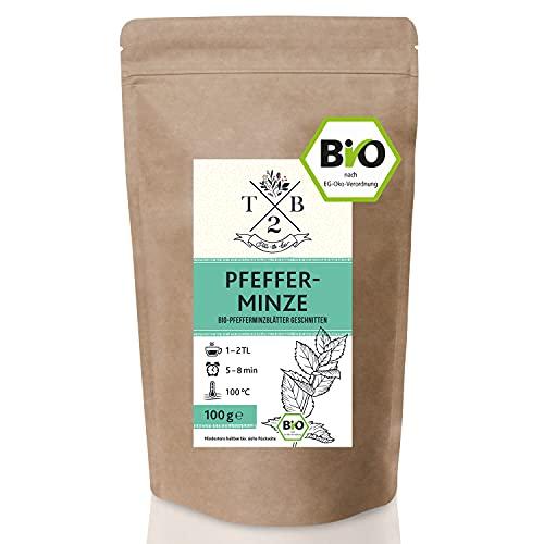 Pfefferminztee BIO-Tee geschnitten in Bio-Qualität mit loser Pfefferminze (Minze, Pepermint, Mentha piperita), 100g | Tea2Be