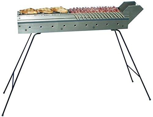 Grill cuocispiedini Gitter focone Grillpfanne mit Kohle für Grillwanne Wurst Spieße 80cm aus Edelstahl–Made in Italy