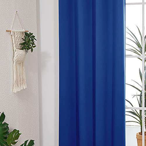Deconovo Bedroom Curtains 96 Inches Length, Blackout Curtains, Light Blocking Drapes, Soundproof Curtains (Royal Blue, 52x96 Inch, 2 Panles)