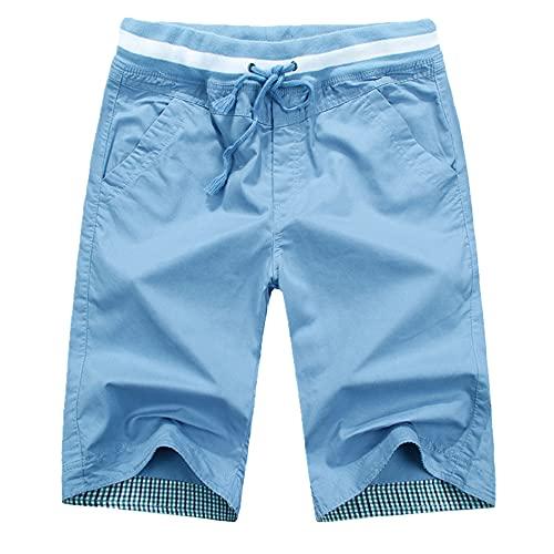 N\P Verano Color Sólido Pantalones Cortos Casual Hombres Pantalones De Playa Sueltos De Algodón