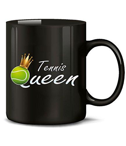 Golebros Tennis Queen 5366 Sport Geburtstag Geschenk Ball Fun Tasse Becher Kaffeetasse Kaffeebecher Schwarz