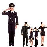 Disfraz Piloto Avión Niño Chaqueta Gorra Pantalón【Tallas Infantiles de 3 a 12 años】[Talla 5-6 años] Disfraz Niño Carnaval Profesiones Uniforme Piloto con Gorra Actuaciones Desfiles Festivales Teatro