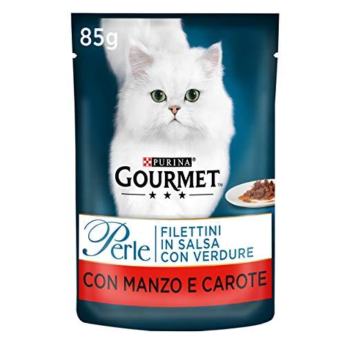 Purina Gourmet Perle Umido Lot de 24 Paquets de 24 sachets de 85 g pour Chat avec Verdure, avec bœuf et Carotte