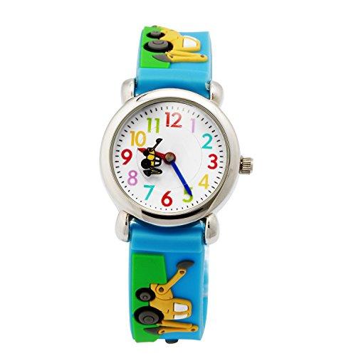 Reloj para Niños de Vinmori, Reloj de Cuarzo con Dibujos Animados Bonitos en 3D Resistente al Agua. Regalo para Chicos, Niños y Niñas (Remolque Azul)