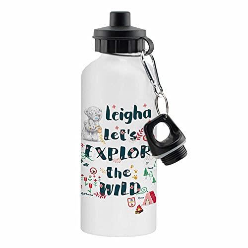 Botella de agua reutilizable de aluminio blanco con texto 'Me to You - Let's Explore The Wild' de 500 ml