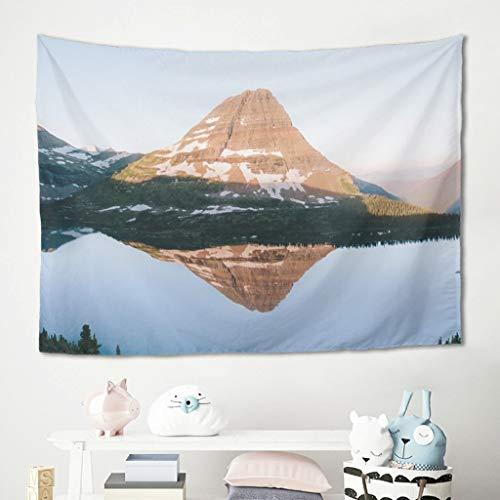 Gamoii Manta de pared con diseño de árbol, lago, reflexión, paisaje, manta de pícnic, playa, esterilla de yoga, cómoda, decoración de cama, sofá, cubierta blanca, 150 x 130 cm