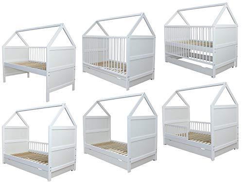 Babybett Kinderbett Juniorbett Bett Haus 140 x 70cm mit Schublade weiss 0 bis 6 Jahre