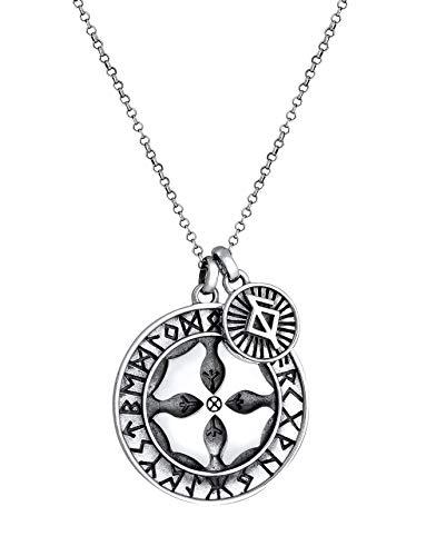 Kuzzoi Collar de plata para hombre con colgante de cruz y cruz celta, cadena de moneda antigua para hombre en plata de ley 925, con colgante de amuleto de aspecto antiguo, hecho a mano